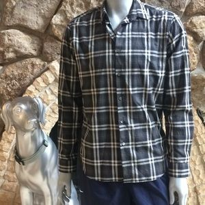 Theory Button Down Plaid Cotton Shirt